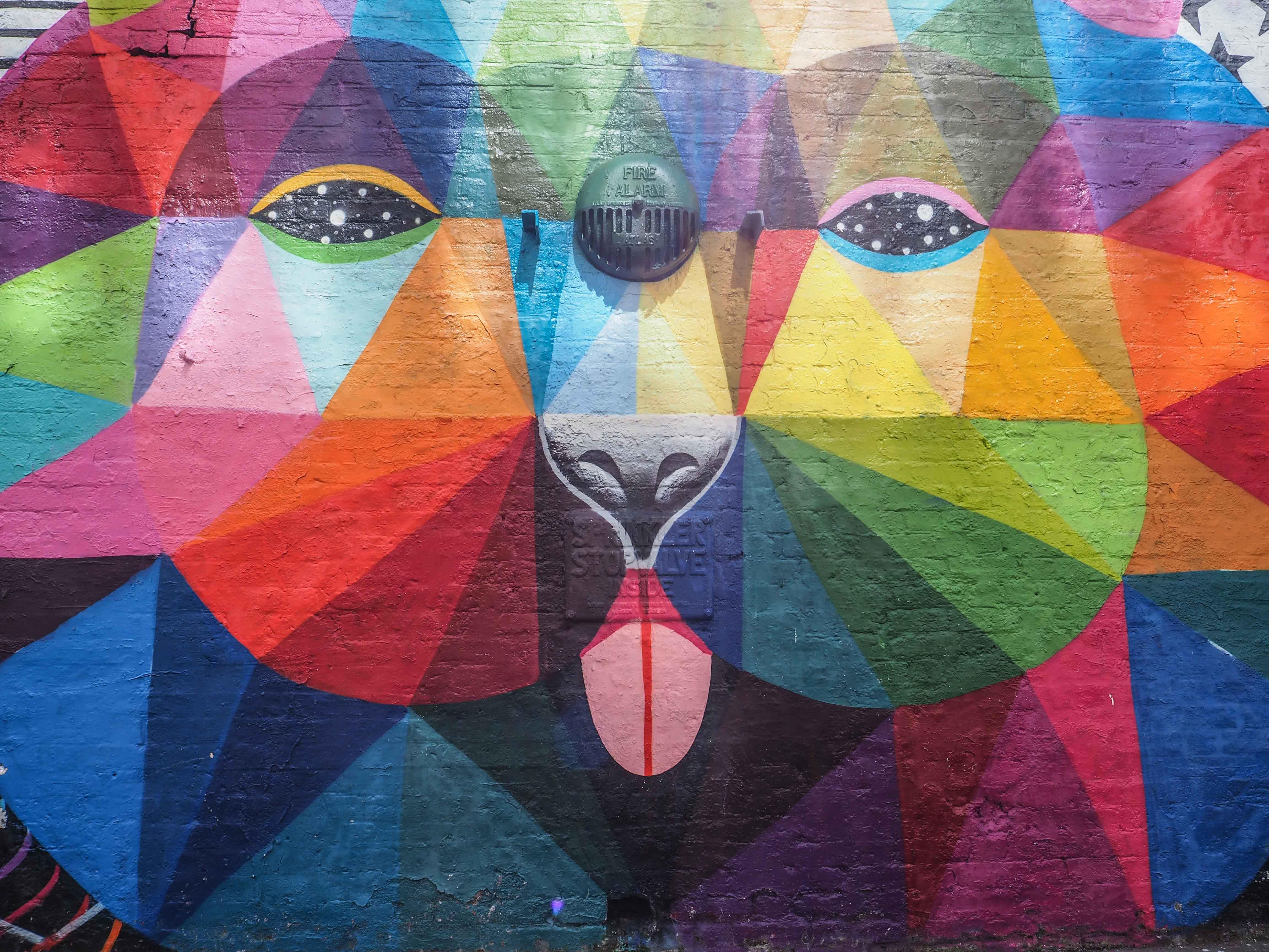 Farbenfrohe Darstellung eines Bären von Okuda