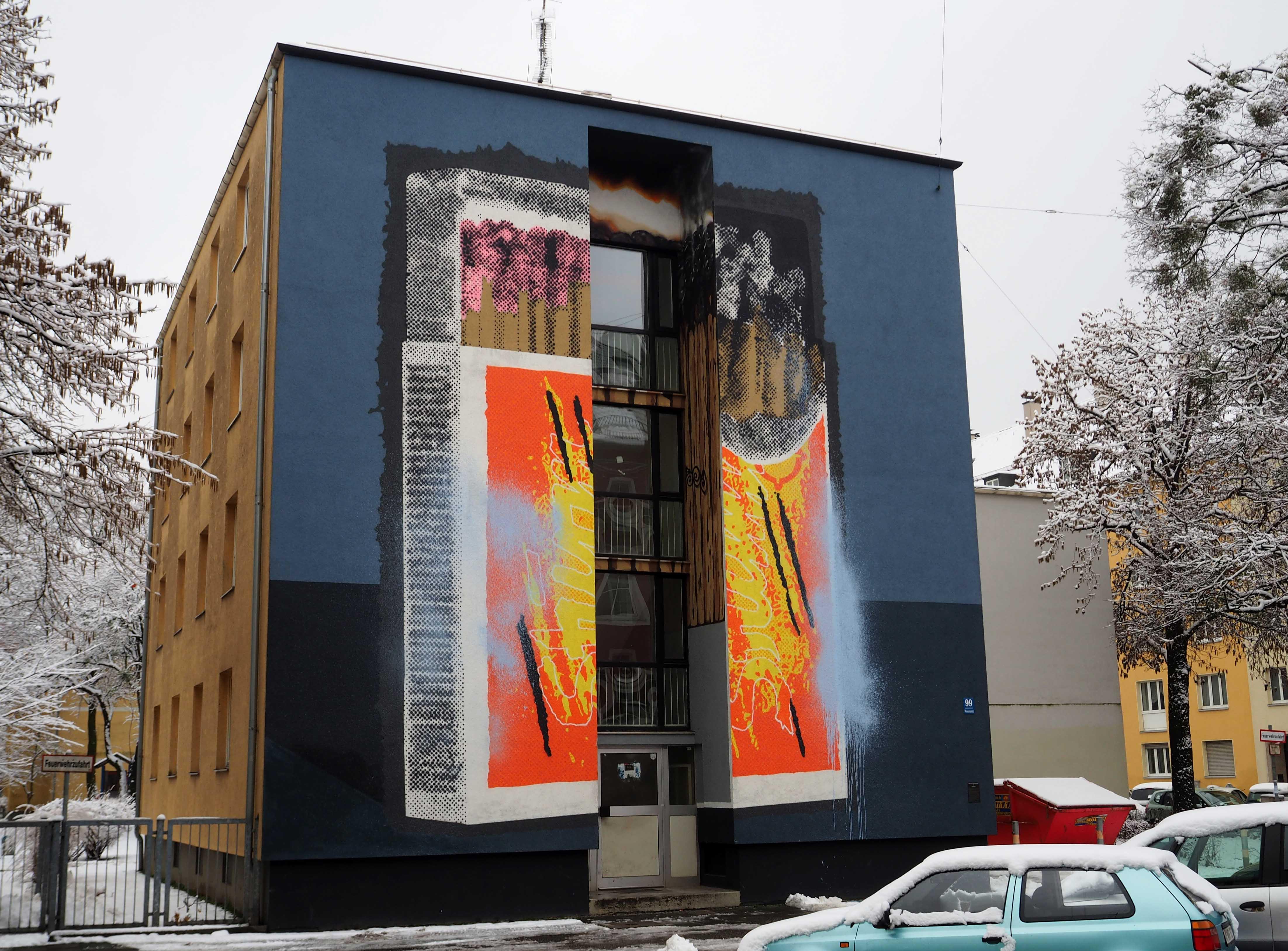 Mural von NONAME zeigt eine Streichholzschachtel