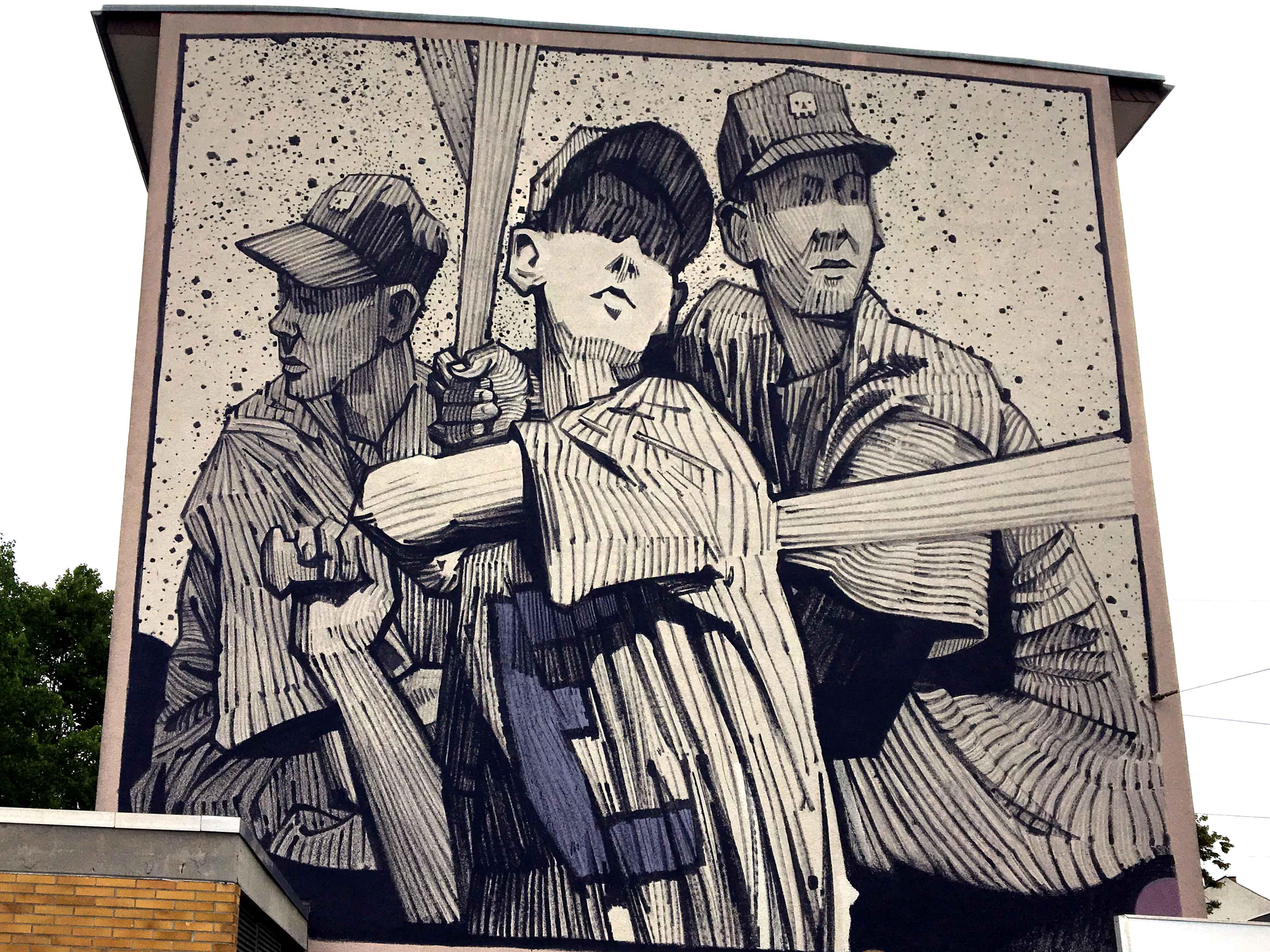 Mural von Sainer der einen Baseball Sketch zeigt