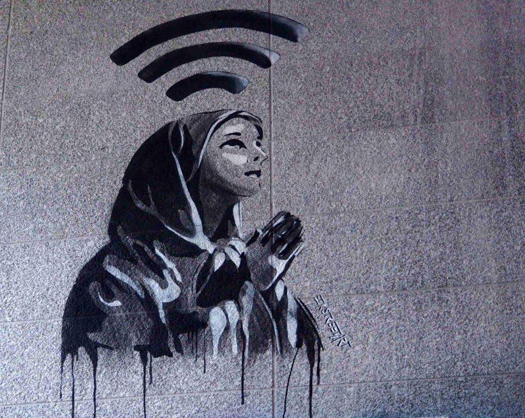 Stencil von EZK das Maria und Wifi zeigt