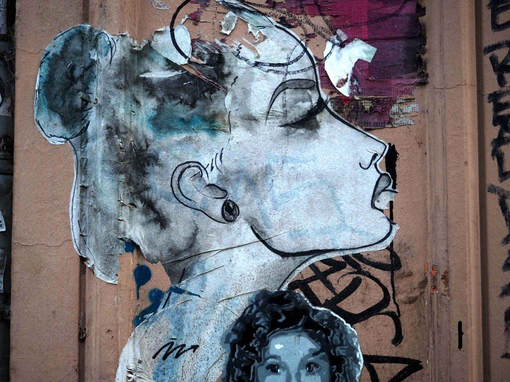 Paste up von Frau im Profil