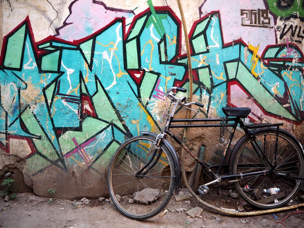 Graffiti mit Fahrrad