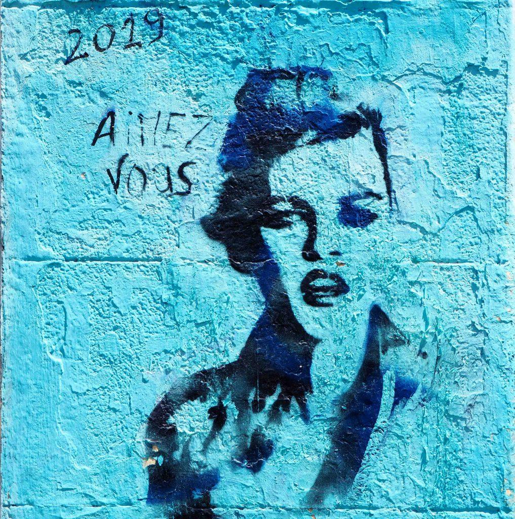 blaues Stencil